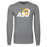 Grey Long Sleeve T Shirt-ASU Logo