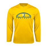 Syntrel Performance Gold Longsleeve Shirt-Arched Football Design