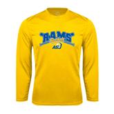Syntrel Performance Gold Longsleeve Shirt-Baseball Crossed Bats Design
