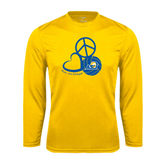 Syntrel Performance Gold Longsleeve Shirt-Peace, Love and Volleyball Design