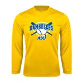 Syntrel Performance Gold Longsleeve Shirt-Softball Bats and Plate Design
