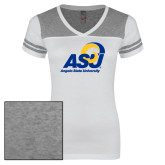 Ladies White/Heathered Grey Juniors Varsity V Neck Tee-Primary Mark