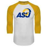 White/Gold Raglan Baseball T Shirt-ASU Logo