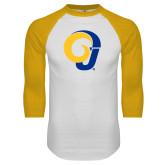 White/Gold Raglan Baseball T Shirt-Ram Logo