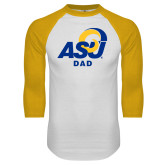 White/Gold Raglan Baseball T Shirt-ASU Dad
