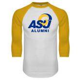 White/Gold Raglan Baseball T Shirt-ASU Alumni