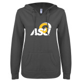 ENZA Ladies Dark Heather V Notch Raw Edge Fleece Hoodie-ASU Logo