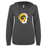 ENZA Ladies Dark Heather V Notch Raw Edge Fleece Hoodie-Ram Logo