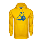 Under Armour Gold Performance Sweats Team Hood-Peace, Love and Volleyball Design