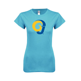 Ladies SoftStyle Junior Fitted Light Blue Tee-Official Logo