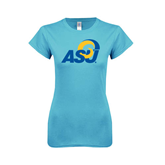 Ladies SoftStyle Junior Fitted Light Blue Tee-ASU