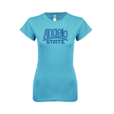Ladies SoftStyle Junior Fitted Light Blue Tee-Angelo State