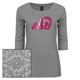 Ladies Grey Heather Lace 3/4 Sleeve Tee-ASU Logo  Foil