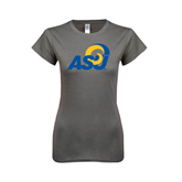Ladies SoftStyle Junior Fitted Charcoal Tee-ASU