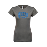 Ladies SoftStyle Junior Fitted Charcoal Tee-Angelo State