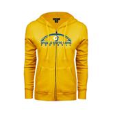 ENZA Ladies Gold Fleece Full Zip Hoodie-Arched Football Design