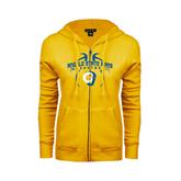 ENZA Ladies Gold Fleece Full Zip Hoodie-Basketball in Ball Design