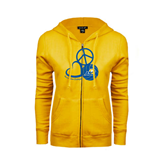 ENZA Ladies Gold Fleece Full Zip Hoodie-Peace, Love and Volleyball Design