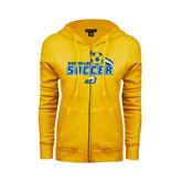 ENZA Ladies Gold Fleece Full Zip Hoodie-Soccer Swoosh Design