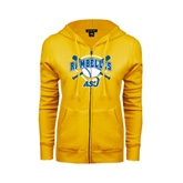 ENZA Ladies Gold Fleece Full Zip Hoodie-Softball Bats and Plate Design