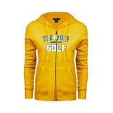ENZA Ladies Gold Fleece Full Zip Hoodie-Tee Off Golf Design