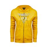 ENZA Ladies Gold Fleece Full Zip Hoodie-Basketball Stacked Design