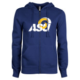 ENZA Ladies Royal Fleece Full Zip Hoodie-ASU Logo