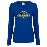 Ladies Royal Long Sleeve V Neck T Shirt-Womens Soccer Champions