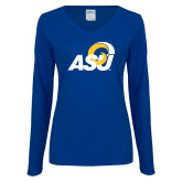 Ladies Royal Long Sleeve V Neck Tee-ASU Logo