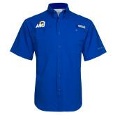 Columbia Tamiami Performance Royal Short Sleeve Shirt-ASU Logo