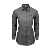 Ladies Grey Tonal Pattern Long Sleeve Shirt-ASU