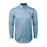 Light Blue Twill Button Down Long Sleeve-Official Logo