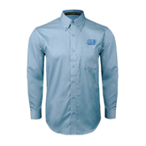 Light Blue Twill Button Down Long Sleeve-Angelo State