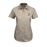 Ladies Khaki Twill Button Up Short Sleeve-Official Logo