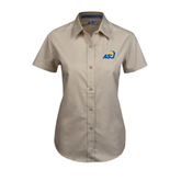 Ladies Khaki Twill Button Up Short Sleeve-ASU