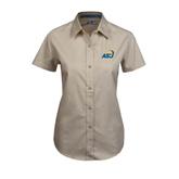 Ladies Khaki Twill Button Up Short Sleeve-ASU