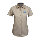 Ladies Khaki Twill Button Up Short Sleeve-Angelo State
