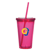 Madison Double Wall Pink Tumbler w/Straw 16oz-Official Logo