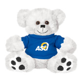 Plush Big Paw 8 1/2 inch White Bear w/Royal Shirt-ASU Logo