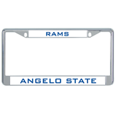 Metal License Plate Frame in Chrome-Angelo State