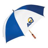 62 Inch Royal/White Vented Umbrella-ASU Logo