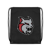 Black Drawstring Backpack-Amcat Head