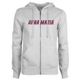 ENZA Ladies White Fleece Full Zip Hoodie-L Pink Glitter