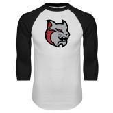 White/Black Raglan Baseball T Shirt-Amcat Head