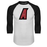 White/Black Raglan Baseball T Shirt-A