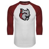 White/Cardinal Raglan Baseball T Shirt-Amcat Head