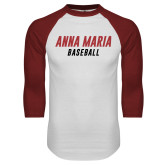 White/Cardinal Raglan Baseball T Shirt-Baseball Wordmark