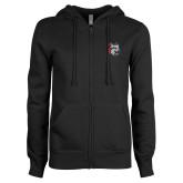 ENZA Ladies Black Fleece Full Zip Hoodie-Amcat Head
