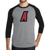 Grey/Black Tri Blend Baseball Raglan-A