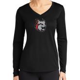 Ladies Syntrel Performance Black Longsleeve Shirt-Amcat Head
